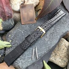 """18mm 11/16"""" Vintage Watch Band USA Made Black Lizard-Grain Leather New Old Stock"""