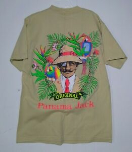 VTG 80s 90s EUC Panama Jack USA Made Single Stitch T-Shirt Size Medium Tan Retro