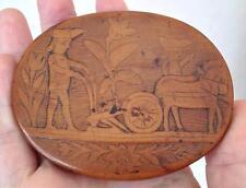 Couvercle bois Travail de Bagnard Art Populaire Haute Epoque ?