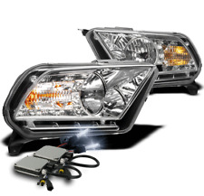 2010-2014 FORD MUSTANG CHROME CRYSTAL DRL LED HEADLIGHT LAMP+8K HID KIT PAIR NEW