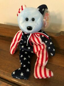 ty Original Beanie Baby Retired Spangle the Bear Blue Face Red Blue Error on Tag
