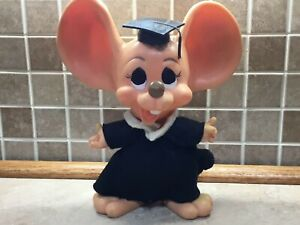 "Royalty Industries Inc. Roy Des 1970 Hard Rubber Graduation Mouse Bank 12"" Tall"
