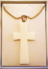 WHITE CROSS NECKLACE ~ 17 inch Chain ~ Vintage 1970s ~ NIB ~ @LOOK@