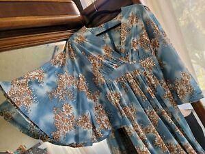 AMAZING! Rare Vintage 70s Angel Sleeve Maxi Hostess Dress Kaftan Blue Floral S/M