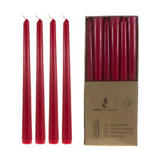 """Mega Candles - Unscented 10"""" Taper Candles - Red, Set of 12 Cga066-R"""