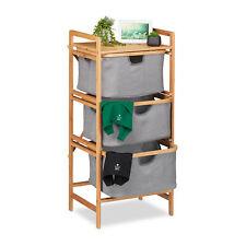 Cesto le permite separar lavado de bambú estante de coleccionista wäschetrenner 3er cesta estante estante