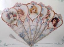 Vintage Inspired Valentine Paper Fan Greeting Card Happy Birthday Romantic Child