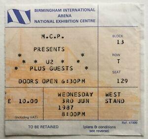 U2 Original Used Concert Ticket NEC Birmingham 3rd June 1987