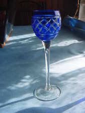 Vintage Cobalt Blue Cut to Clear Crystal Cordial Liqueur Glass,