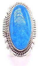 Navajo Handmade Kingman Turquoise Ring Set In Sterling SilverAlfred Martinez-7.5