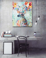 1PC Canvas Painting Unframed Art Gorgeous Watercolor Deer Picture Decor Vintage