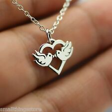 LOVE BIRDS NECKLACE - 925 Sterling Silver Birds Kissing Love Charm Jewelry *NEW*