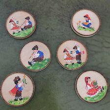 More details for vintage set of 6 coasters. wooden folk art german. log cabin.