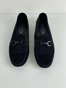 Tod's Women's Suede Fringed Driving Gommino Moccasins Loafers Size 42 / US 10