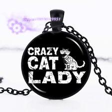 Crazy Cat Lady Cabochon Glass Black Chain Fashion Pendant Necklace
