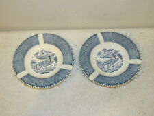 "Vintage Royal China Set of 2 Blue and Currier Ives 5 1/2"" Diameter Ashtrays VFC"