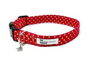 Red Polka Dot Dog Collar, Adjustable Dog Collar, Collar for Dogs