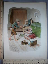 Rare Antique Orig VTG Brother Feeds Baby Eugen Klimsch Color Litho Art Print