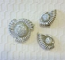 Vintage Marboux Silver/Pale Gold Tone and Rhinestone Brooch and Earring Set