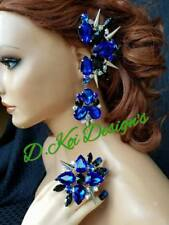 Ear cuffs spikes Blue drag queen jewerly new show dragqueen Ring earrings clip