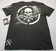 AFFLICTION Mens Black Born Free Die Free Standard Dry Goods Henley Shirt  NWT  S