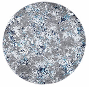 Rothbury Abstract Distressed Grey Blue Contemporary Round Floor Rug - 2 Sizes