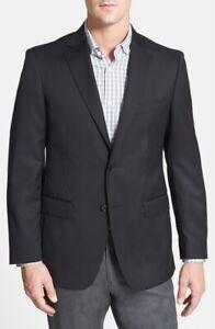 Di Milano Uomo Mens 'Logan' Classic Fit Wool Two Button Blazer Black Sz 44L $295