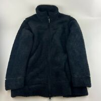 Athleta Womens Fleece Jacket Black Full Zip Up Pockets Mock Neck L
