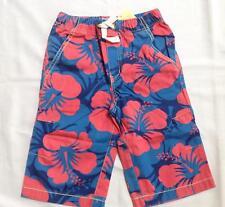 NWT boys Mini Boden blue red hibuscus flower board shorts 7 y 7y years