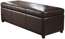 Simpli Home Avalon Rectangular Faux Leather Storage Ottoman Bench