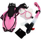 Snorkeling Dive Mask Goggle Dry Snorkel Fins Flippers Bag Sports Gear Set