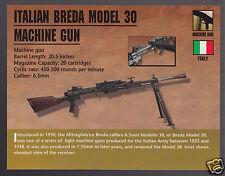 ITALIAN BREDA MODEL 30 MACHINE GUN 6.5mm Italy Classic Firearm PHOTO CARD
