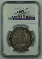 1814-A France 5F Silver Coin Louis XVIII NGC XF Details Surface Hairlines AKR