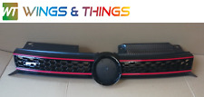 VW Golf 2009-2012 Mk6 Bonnet Bumper Grill Gloss And Red GTI GTD hole for badge