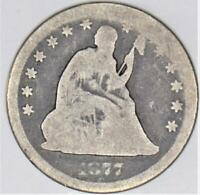 1877-CC Seated Liberty Quarter; Choice Original AG