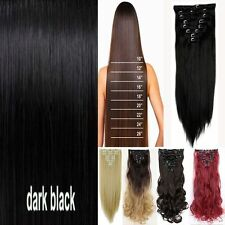 Real Natural Clip in remy Hair Extensions 8 Pieces Full Head Straight Curly Wavy