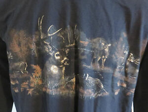 Mens Sun River Long Sleeve Tshirt Size large Deer Buck Hunting Graphic