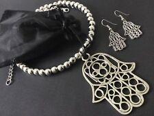 Huge Statement Chunky Hamsa Hand Choker Necklace Boho Jewellery With Earrings