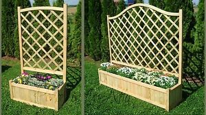 Wooden Garden Double Flower Planter With Trellis for Climbing Plant Support