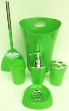 Bathroom Accessory Green 6 Pcs Set- S-Dish/ T/brush/Dispenser/Toilet Tumbler Bin