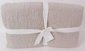 Pottery Barn Belgian Flax Linen Floral Stitch King quilt, eucalyptus green