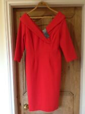 BNWT M&S COLLECTION DRESS OFF THE SHOULDER V NECK 3/4 SLEEVES RED RRP £59 UK 14