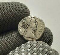 Uncleaned Antique Coin SILVER MARCUS AURELIUS ROMAN DENARIUS 161-180 A.D# 0696