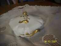 Haviland & Co. Limoges France Antique Gold Porcelain China Covered Vegetable Bow