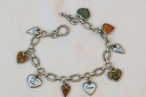 Authentic Brighton Picadilly Silver & Multi-colored Heart Charm Bracelet