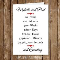 Personalised ANNIVERSARY Greeting Card Wedding Engagment Seconds Years 135