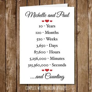 Personalised ANNIVERSARY Card Wedding Engagement Seconds Years wife husband 135