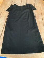 Super Chic ZARA WOMAN Black Pure Wool Gaberdine Short Mini Shift DRESS, XS