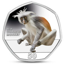 GIBRALTAR 50 PENCE PRIMATES SERIES RED COLOBUS MONKEY MACAQUE 2018 COLOURED
