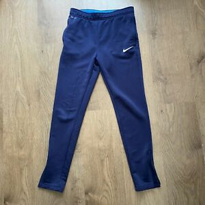 Boys Nike Tracksuit Bottoms Size Large Dri-Fit Blue Zip Pockets Football